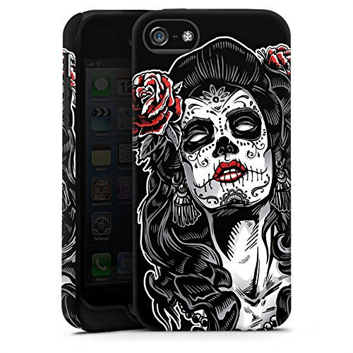 Apple iPhone 5 Housse Étui Silicone Coque Protection Zombie Catrina Halloween Cas Tough terne