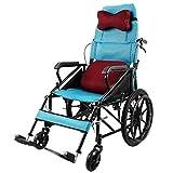 MTX Ltd Ältere Menschen Liefert Rollstuhl Faltbarer Leichtgewichtsrollstuhl, Aluminiumrollstuhl, Manueller Rollstuhl, Faltender Transportreisenrollstuhl, Semi-Recumbent Rollstuhl,Blau,A
