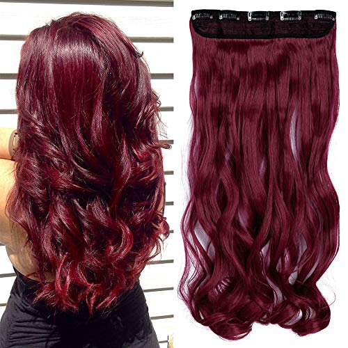 "TESS Haarteil Clip in Extensions wie Echthaar Dunkellila Haarverlängerung 1 Tresse 5 Clips günstig Gewellt Haarverdichtung 24""(60cm)-120g"