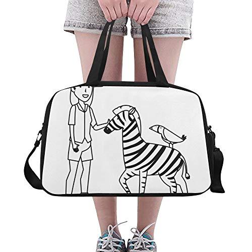 Zebra Cartoon Wald Tier Große Yoga Gym Totes Fitness Handtaschen Reise Seesäcke Schultergurt Schuhbeutel für die Übung Sport Gepäck für Mädchen Männer Womens Outdoor - Zebra Hobo Handtasche