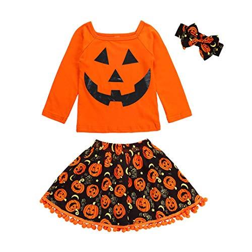 ZEZKT-Kinder Halloweenkostüm Baby Set | Kürbis Mädchen Langarm -
