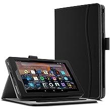 Funda para Nuevo tablet Fire HD 8 2017, Infiland Folio PU Cuero Cascara Delgada con Soporte para Nuevo Fire HD 8 2017 (7ª generación) (con Auto Reposo / Activación Función)(Negro)