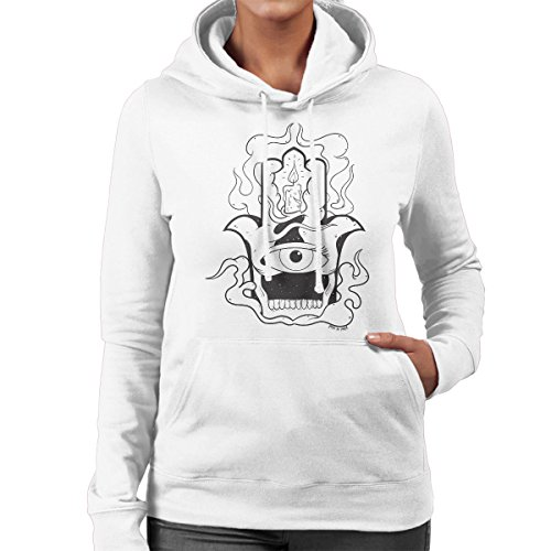 Hamsa Candle Tattoo Women's Hooded Sweatshirt White