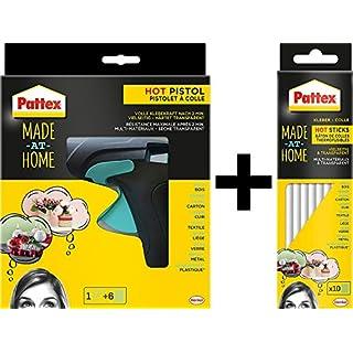Pattex Heißklebepistole Made at Home, inkl. 6 Heißklebesticks / Set (+ 10 Sticks extra)