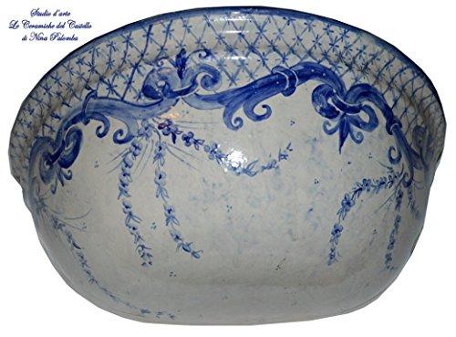 Vaso da muro Svuota-tasche da interni Linea Classica blu Realizzato e Dipinto a mano Le Ceramiche del Castello Made in Italy Pezzo...