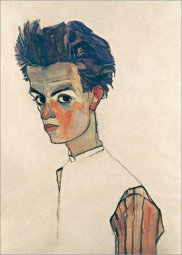 Poster 50 x 70 cm: Egon Schiele, Selbstbildnis von Egon Schiele - hochwertiger Kunstdruck, neues Kunstposter