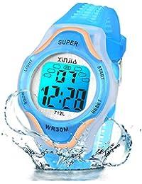 Reloj Digital para niños, 7 Colores, con luz LED, para niños, niñas, Resistente al Agua, Reloj Deportivo Digital para niños (Azul)