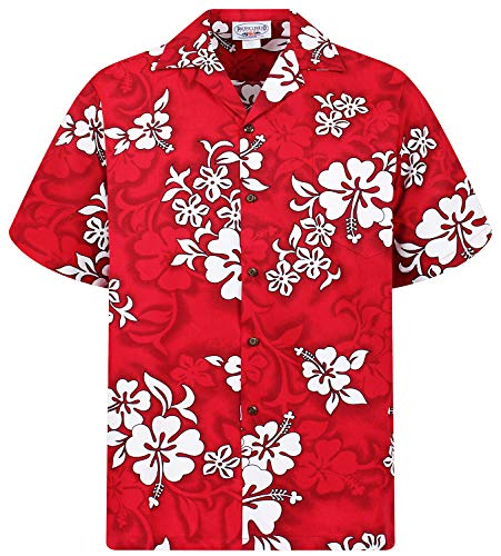 Männlichen Partner Kostüm - PLA Original Hawaiihemd 64, Rot, M