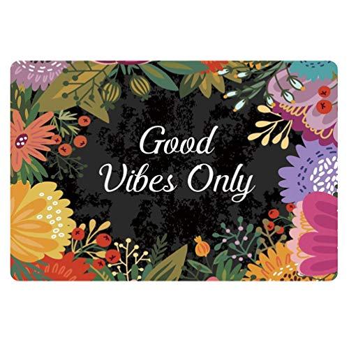 HUGS IDEA Fußmatte mit Blumen-Motiv, Rutschfest, für Innen- und Außenbereich, für Türen, Badezimmer Floral 6 -