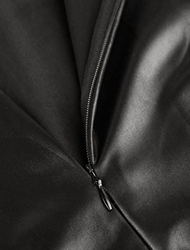 Femmes Manches Longues Col Rond Skinny PU Robe Midi Noir