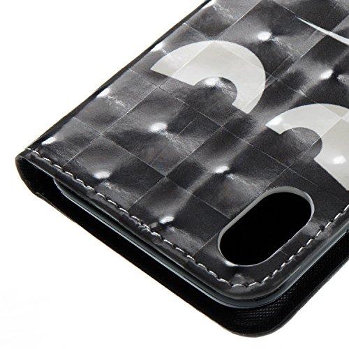 Camiter Conception de loup PU Cuir Coque Case Etui Coque étui de portefeuille protection Coque Case Cas Cuir Pour Apple iPhone 8 + Chiffon de nettoyage gratuit oeil noir