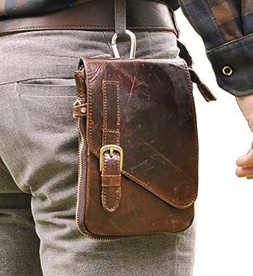 Le 'aokuu pour homme en cuir véritable de vachette 20,3cm hanche taille Fanny Pack Randonnée Extérieur Sac à bandoulière