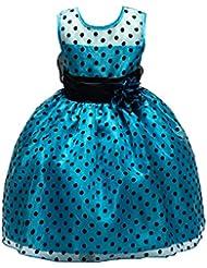 ZAMME Chicas Polka Dot SkirtFlowers chica vestido de arco de la vendimia