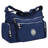 Women Tote Messenger Cross Body Nylon Handbag Bag Ladies Shoulder Bag Purse New (blue)