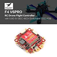 Ballylelly HGLRC F4 V6PRO Flight Controller with 5.8G Transmitter 5V BEC 48CH Switchable BETAFLIGHT OSD PDB for RC Racing Drone