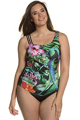 Feminine Anzug (Ulla Popken Damen große Größen | Badeanzug | Dschungel-Muster | unterschiedliche Träger | Softcups | Vorderfutter | bis Größe 56 | multicolor 50 710605 90-50)