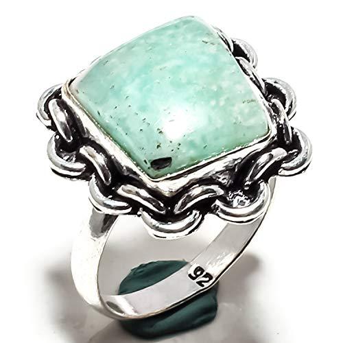 Jewels paradise anello in argento sterling 925 placcato a mano con pietre di amazzonite (sf-1885) – anello di dichiarazione – misura anello (us) – 9,25