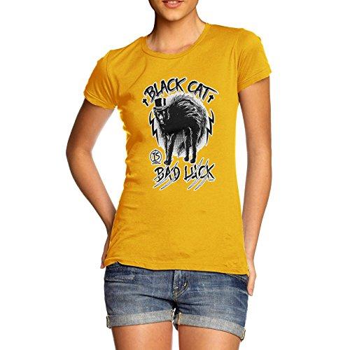 lle Funny Aberglaube Schwarz Katze Bad Luck Print T-Shirt Gr. X-Large, Gelb ()