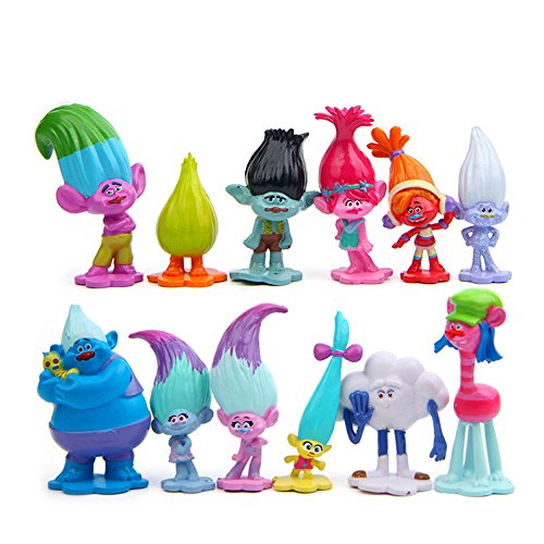 Evursua DreamWorks Trolls Toys Figures Set of 12, Trolls Cake Topper for Kids Party Supplies,Poppy,Branch and More