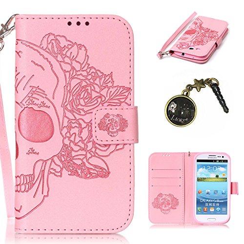 PU Coque Galaxy S3 GT-I9305/I9300 , Multifonction Case Wallet Cover Etui en cuir Étui de protection flip Wallet stand Cover avec des fentes de cartes pour Samsung Galaxy S3 GT-I9305/I9300 +Bouchons de poussière (5YY)