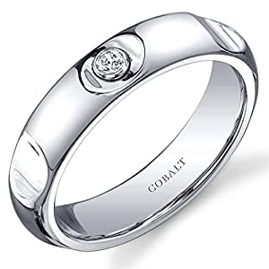 Revoni Solitaire Style 5mm Platinum Finish Notched Mens Cobalt Wedding Band Ring Size P 1/2,