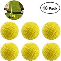 WINOMO 18PCS Practice Golf Balls Soft Dimpled Elastic Indoor Outdoor Training Soft Foam Golf Balls (Yellow)