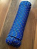 Nr.8 Blaues PP-Seil,Universalseil,Rope 6 mm x 30 m,Kunststoffseil, Tauziehen,Schleppseil,Schleppleine,Vielzweckseil,Bootstau