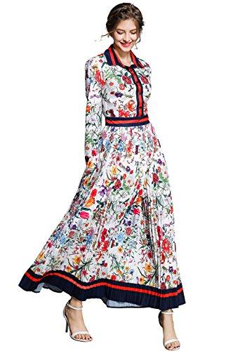 Damen Sommer Maxikleid mit Blumenmustern Print Elegant A-Linie Knopfleiste Langarm oder 3/4 Ärmel Casual Party Kleider -