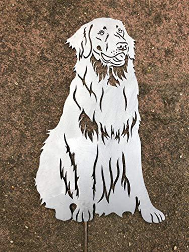 Terma Stahldesign Hovawart höhe 30 cm (mit Spieß 50 cm), Edelrost Hund, Rostfigur, Gartenfigur, Rost Figur