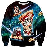Loveternal Unisex Christmas Pizza Katze T-Shirt Lovely Weihnachtspullover Jungen 3D Printed Langarm Sweatshirt XL