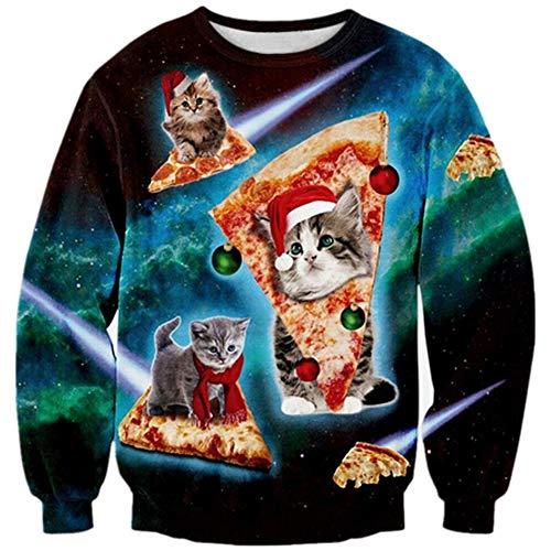Loveternal Pizza Cat Christmas Jumper Mujer 3D Imprimi Navidad Sudadera con  Capucha Invierno Xmas Pullover Ugly 63a548fe42a6