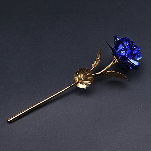 vanker-nouveaute-romantique-24cm-fait-main-feuille-dor-fleur-rose-amoureux-cadeau-bleu