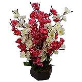 #1: Hyperboles Bonsai Blossom Artificial Flowers with Wooden Pot(17Inch)