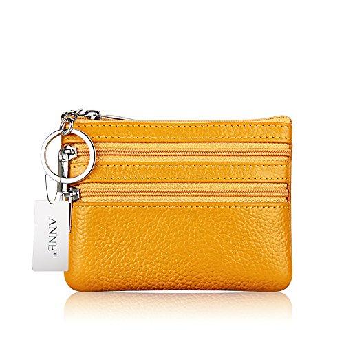 ANNE Portafoglio squisito della borsa della moneta in pelle per le donne Yellow