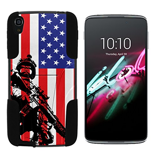 turtlearmor | Alcatel OneTouch Idol 3 Fall (14 cm) [Gel Max Cover] Dual Layer Hybrid Funktion Absorber Silikon Cover Krieg und Military Design -, American Soldier - Touch Camo Alcatel One