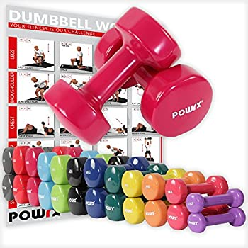 POWRX - Mancuernas Vinilo 16 kg Set (2 x 8 kg) + PDF Workout (Rosa ...