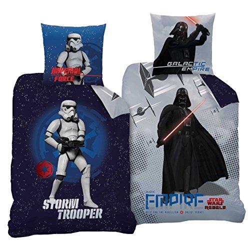 Parure de lit réversible CTI Star Wars 135x 200cm + 80x 80cm, 2motifs, 100% coton Empire