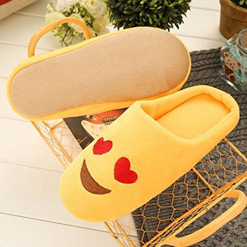 Qiao Nai (TM) Unisexe Chaussures Pantoufles Emoji Peluche Slipper Hiver Chaud Salle Maison Enfant Cadeau Cœur