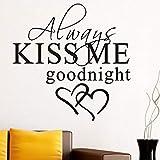 immer küss mich gute nacht liebe vinyl wandtattoo zitate diy kunst wandbild entfernbare...