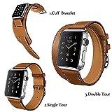 Smarmate Bracelet Manchette/Single Tour/Double Tour Sangle de Bande de Cuir avec Adaptateur Fermoir pour Apple Watch de 42mm Série 2et série 1