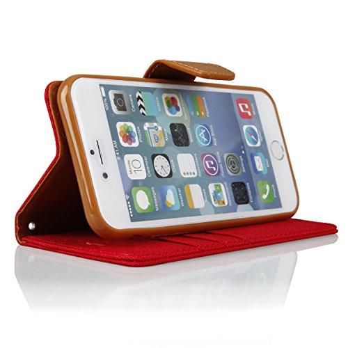 EGO® Luxury Bookstyle Handy Tasche mit praktischer Aufstellfuntkion für iPhone 6 / 6s Rot Flip Case Magnetverschluss Book Cover mit Kartenfach Wallet Stand Schutz Hülle Canvas Rot