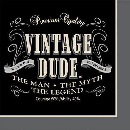 Unbekannt Creative Converting 16Count Vintage Dude zum 40. Geburtstag Lunch-Servietten, Papier, Vintage Dude, Beverage