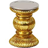 Benzara Antique Votive Decorative Golden Glass Pillar Candle Holder