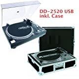 Omnitronic DD-2520 USB DJ Plattenspieler inklusive Rec-Software und Profi Transport Case