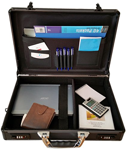 Pro Aluminium Executive Laptop Padded Briefcase Attache Case Black / Gun Metal