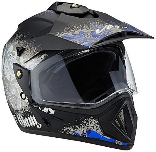 Vega Off Road Gangster ORDVDBR11 Helmet (Dull Black and Blue, M)