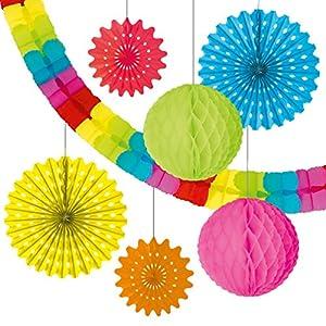 SUSY CARD Juego de decoración con 1Guirnalda, 4guirnaldas Redondas y 2Bolas. Paquete de 7Piezas