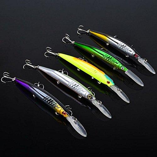 Bazaar Proberos 12.7g l'attrait de pêche d'appât de vairon de 14.5 centimètres attirent dur l'appât avec les crochets 5pcs
