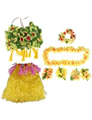 Gazechimp Set/8pcs Falda de Danza de Hierba Hula Hawaiana de Mujeres Plusera y Collar con Flores Aritificiales Accesorio de Traje de Grupo de Danza