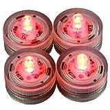 LED-Highlights Deko Kerzen Teelichter 4 er Set rot flackernd wasserdicht kabellos Batterie Stimmungslicht Tischlampe Innen Aussen